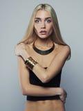 美好的稀薄的模型 白肤金发的妇女年轻人 库存图片