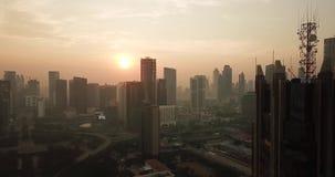 美好的空中日出视图在雅加达市 股票视频