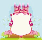 美好的童话桃红色城堡框架 免版税库存照片