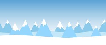 美好的简单的与抽象山的冬天无缝的风景传染媒介 库存图片