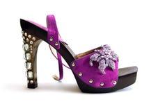美好的紫色穿上鞋子妇女 库存照片