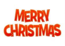 美好的红色在白色背景的字法圣诞快乐 免版税库存图片
