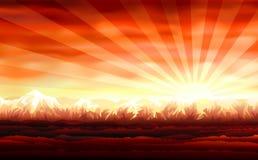 美好的红色日落 向量例证