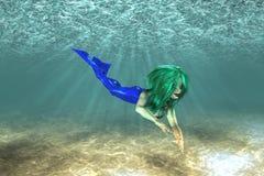 美好的美人鱼游泳 免版税库存图片