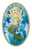 美好的美人鱼纹身花刺 库存照片