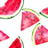 美好的美妙的明亮的五颜六色的可口鲜美美味的成熟水多的逗人喜爱的可爱的红色夏天新点心切片西瓜pa 皇族释放例证