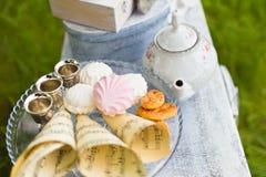 美好的老古色古香的茶具 库存照片