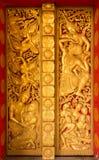 美好的老挝人寺庙门 库存照片