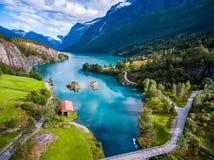 美好的自然挪威航拍 图库摄影