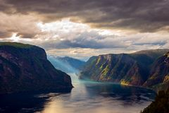 美好的自然挪威Stegastein监视 免版税库存照片