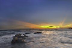美好的自然日落海滩背景 库存图片