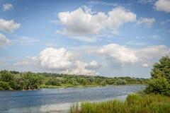 美好的自然风景由河和叶茂盛岸形成了 免版税库存图片