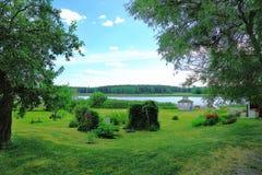 美好的自然风景视图 绿草草坪、灌木和高树在蓝天背景 免版税图库摄影