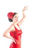 美好的舞蹈演员礼服佛拉明柯舞曲红&# 免版税库存图片