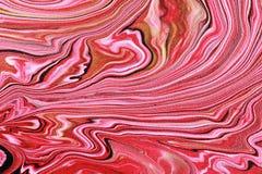 美好的艺术性的纹理 摘要被绘的波浪 片段少许宏观大理石粉红色 免版税库存照片