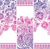 美好的花卉套横幅 免版税库存图片