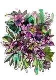 美好的花卉标签圆形 免版税库存图片