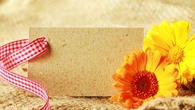 美好的花卉礼物标记背景 库存图片
