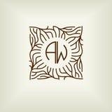 美好的花卉组合图案设计,典雅的线艺术商标,传染媒介模板 免版税图库摄影