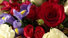 美好的花束玫瑰、虹膜和德国锥脚形酒杯转动 影视素材