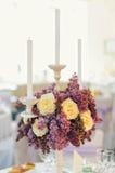 美好的花构成在婚礼之日 免版税库存图片