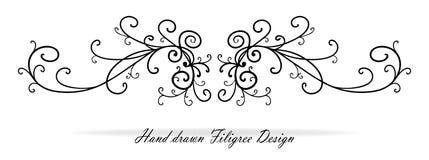 美好的花梢纸卷设计、段或者文本强调,婚姻的设计元素 库存例证