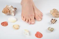 美好的英尺法国pedicure理想的温泉 免版税库存图片