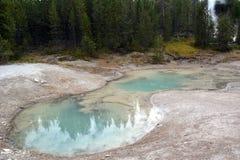 美好的蓝色喷泉`神秘的春天`在诺哩斯喷泉水池在公园黄石 免版税库存图片