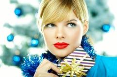 美好的蓝色圣诞节 库存图片