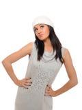 美好的表达式女孩帽子冬天 免版税库存照片