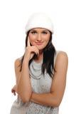 美好的表达式女孩帽子冬天 免版税库存图片