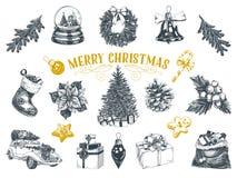 美好的被设置的传染媒介手拉的圣诞节例证 向量例证