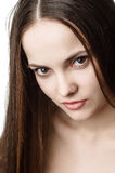 年轻美好的褐色被注视的妇女 图库摄影