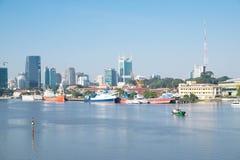 美好的西贡都市风景早晨 免版税库存图片