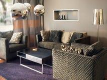 美好的设计内部居住的现代空间 免版税库存照片
