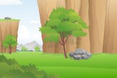美好的谷风景、豪华的峡谷与绿色领域和树,传染媒介例证 库存图片