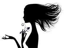 美好的赤裸女孩头半面孔黑剪影与宽松ha的 库存例证