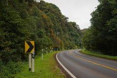 美好的路和危险曲线路标 免版税库存照片