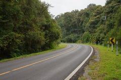 美好的路和危险曲线路标 免版税库存图片