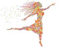 美好的跳舞花卉女孩 库存照片