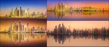 美好的迪拜的都市风景被设置的和拼贴画 库存照片