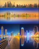 美好的迪拜的都市风景被设置的和拼贴画 图库摄影