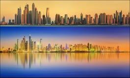 美好的迪拜的都市风景被设置的和拼贴画 免版税库存照片