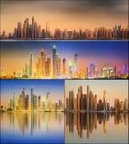 美好的迪拜的都市风景被设置的和拼贴画 免版税库存图片