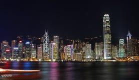 美好的都市风景香港晚上场面 免版税库存照片