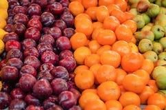 美好的配色、柠檬和绿色苹果背景显示在市场上失去作用 免版税库存图片