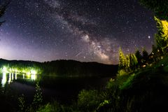 美好的银河天空风景 免版税库存图片