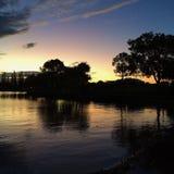 美好的镇静湖日落 库存图片