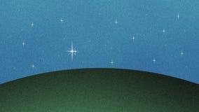 美好的闪烁的星和草小山保险开关背景 向量例证