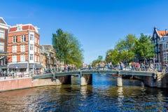 美好的阿姆斯特丹运河场面 库存图片